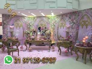 Festa Realeza Rosa e Dourado Luxo